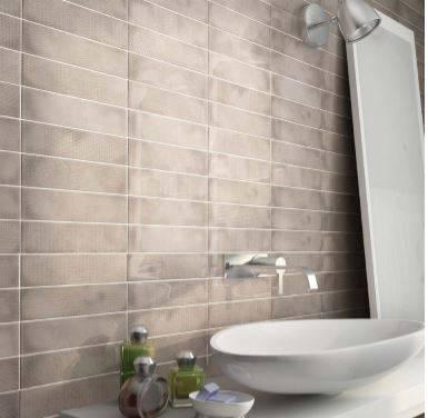 Carrelage rectangulaire salle de bains bleu et taupe - Carrelage rectangulaire salle de bain ...