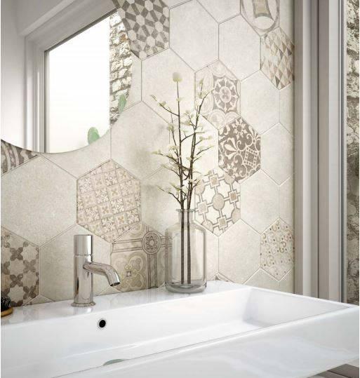 Carrelage hexagonal ciment vieilli montpellier cuisine et salle de bains b24 vente de - Carrelage hexagonal salle de bain ...