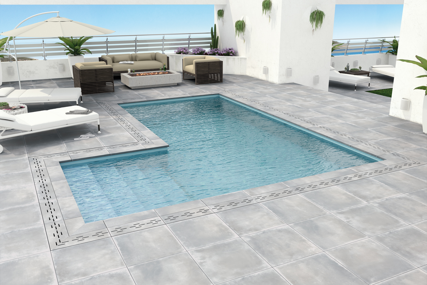 Carrelage ext rieur 20 mm d paisseur effet pierre ou for Piscine jacou