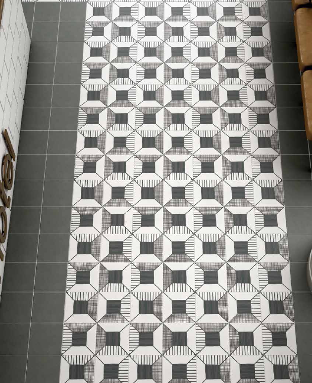 Carrelage ciment noir et blanc les for Carrelage blanc brillant 20x20