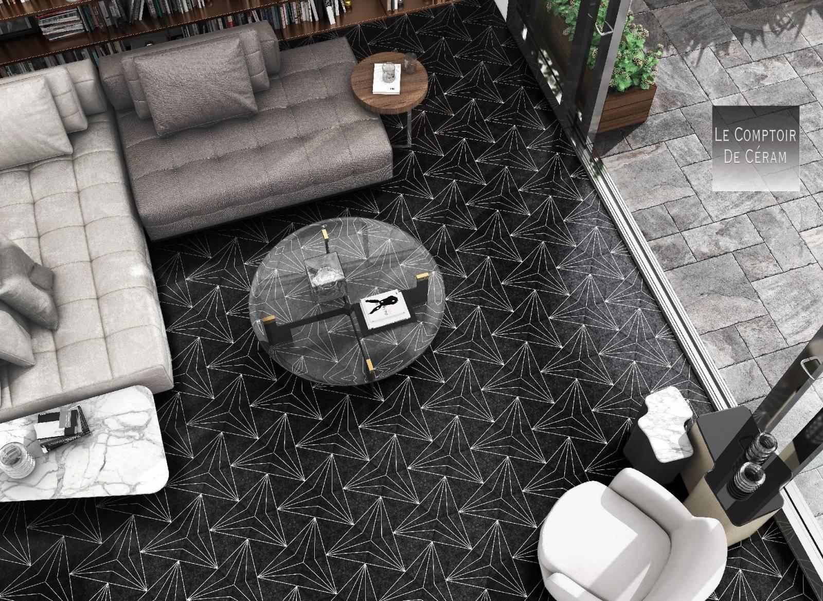 carrelage hexagonal sol et mur formes géométriques noir et blanc à