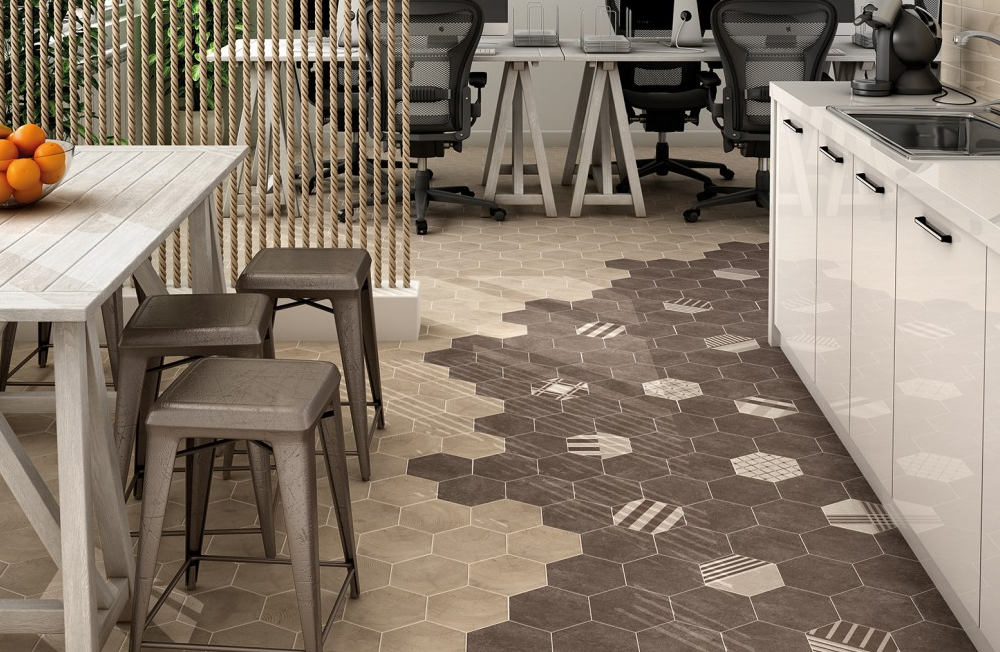 Carrelage hexagonal ciment vieilli montpellier carrelage for Carrelage hexagonal parquet