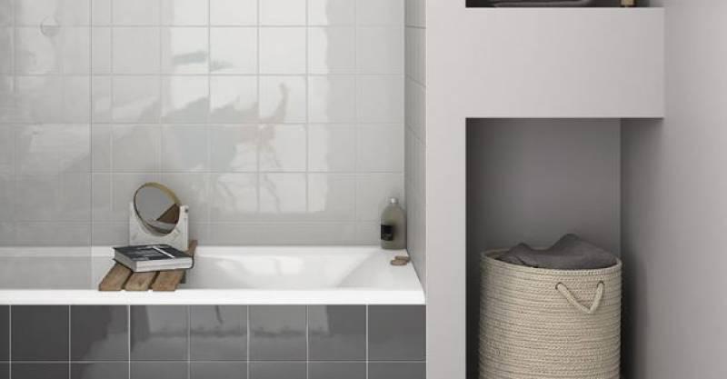 Carrelage mur carr blanc et couleurs brillant 15 x 15 cm - Carrelage noir brillant salle de bain ...